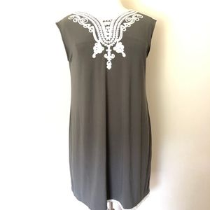 Alfani Grey Embroidered Sheath Dress